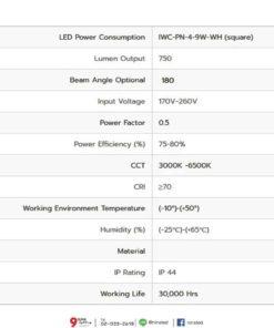 ดาวน์ไลท์ LED สี่เหลี่ยม 9W (เดย์ไลท์) IWACHI