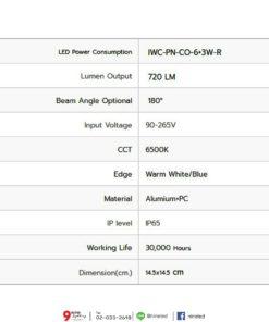 ดาวน์ไลท์ LED หน้ากลม 6W+3W (ขอบแสงวอร์มไวท์) IWACHI